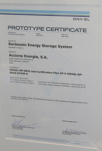 ACCONIA energy storage certificate