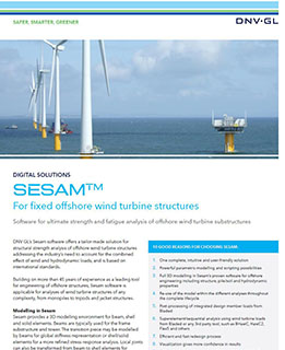 Sesam Wind software for strength and fatigue analysis of offshore wind turbine structures